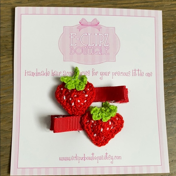 Other - New handmade crochet strawberry pair of hair clips